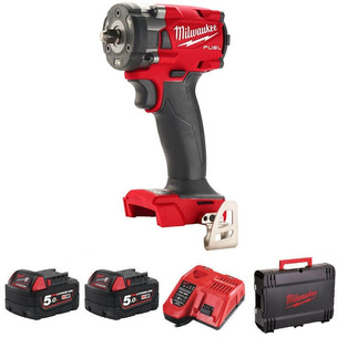 """Milwaukee M18FIW2F38-502X 'FUEL' 3/8"""" Compact Impact Wrench Kit 2 x 5.0AH Batteries"""