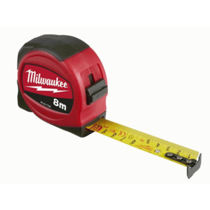Milwaukee 48227708 8m Slimline Tape Measure - Metric Only (8m x 25mm)