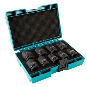 "Makita 9 Piece Impact Socket Set 1/2"" Sq Drive Metric + Retaining Pin 8mm - 24mm"