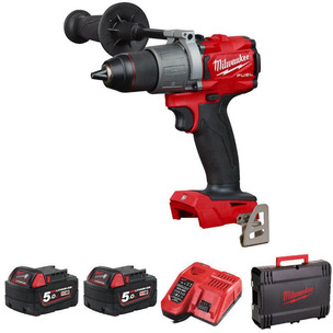 """Milwaukee M18FPD2-502X 18V Fuel 1/2"""" Percussion Drill (2 x 5.0Ah RedLithium-Ion Batteries)"""