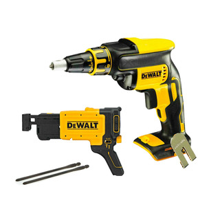 DeWalt DCF620N Cordless Brushless 18V Drywall Screwdriver Body Only & DCF6202 Collated Drywall Screw Gun Attachment