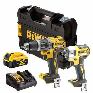 DeWalt DCD796P1 18V XR Brushless Combi Drill (1 x 5.0Ah Li-Ion Battery) & DCF887N Impact Driver Body Only