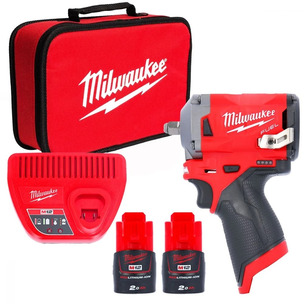 Milwaukee M12FIW38-202B 12v Fuel Impact Wrench Set, with 2 x 2Ah Batts, Charger & Bag