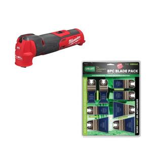 Milwaukee M12FMT-0X Fuel Brushless Multi-Tool Bare Unit & H8MAK 8 Piece Blade Set