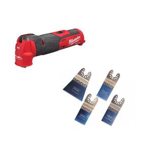 Milwaukee M12FMT-0X Fuel Brushless Multi-Tool Bare Unit & H4MAK 4 Piece Blade Set