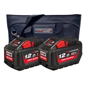 Milwaukee x PTM 12 Ah Battery Deal - 2 x M18HB12 High Output 12 Ah Batteries & Ltd Edition PTM Heavy Duty Work Bag
