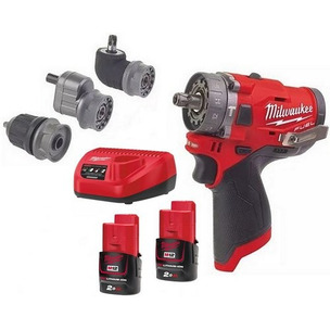 MILWAUKEE M12FPDXKIT-202X PERCUSSION DRILL 2-12V-2AH REDLITHIUM BATTERIES