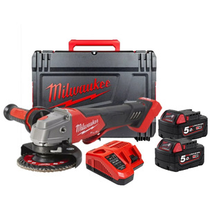 Milwaukee M18FSAGV115XPDB-502X 18v Fuel 115mm Braking Angle Grinder Kit, 2 x 5.0Ah Batteries, Charger, Case