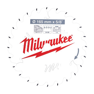 Milwaukee 4932471311 PTFE Coated Circular Saw Blade For M18CCS55 (165mm x 15.87mm x 24T)