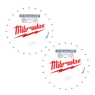 Milwaukee 4932471311 PTFE Coated Circular Saw Blade For M18CCS55 (165mm x 15.87mm x 24T) TWIN PACK