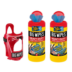 BIG WIPES BUNDLE! 2 x Red Top 4x4 Heavy-Duty Large Hand Cleaning Wipes Tub of 80 & Cage