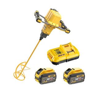 Dewalt DCD240X2 54V XR Flexvolt Brushless Paddle Mixer Kit (2 x 9.0Ah Li-Ion Batteries, Charger, 2 x Paddle Wrenches & Spiral Paddle)
