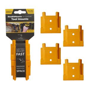 StealthMounts 4 Pack Tool Mounts for DeWalt XR / Flexvolt Tools - Yellow