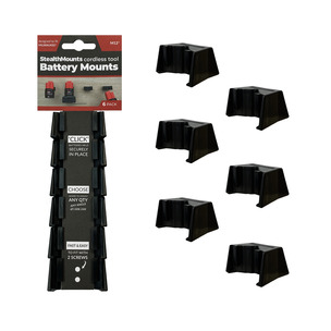 StealthMounts 6 Pack Battery Holders for Milwaukee M12 Batteries - Black