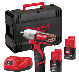 """Milwaukee M12BIW38-202C 12V 3/8"""" Compact Impact Wrench Kit (2 x 2.0Ah RedLithium-Ion Batteries, Charger & Case)"""