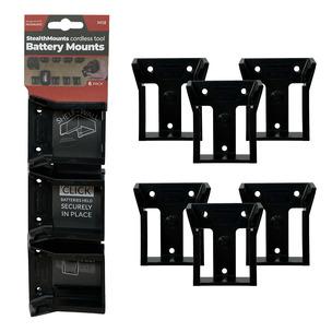 StealthMounts 6 Pack Battery Holders for Milwaukee M18 Batteries - Black