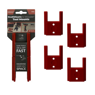 StealthMounts 4 Pack Tool Mounts for Milwaukee M18 Batteries - Red