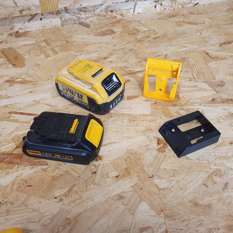 StealthMounts 6 Pack Battery Holders for DeWalt 18V Batteries - Yellow