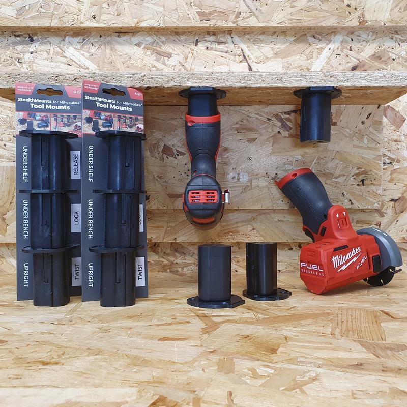 StealthMounts 3 Pack Tool Mounts for Milwaukee M12 Tools - Black